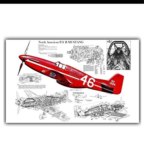 Noord-Amerikaanse P-51 Mustang vliegtuig grafische kunst poster zijde versierd woonkamer behang-50x80cm zonder frame