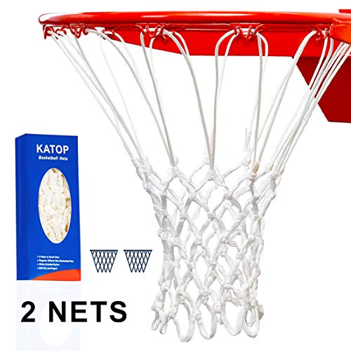 katop Heavy Duty Basketball Net Replacement,Outdoor and Indoor All Weather Thick Net 12 Loops (White)