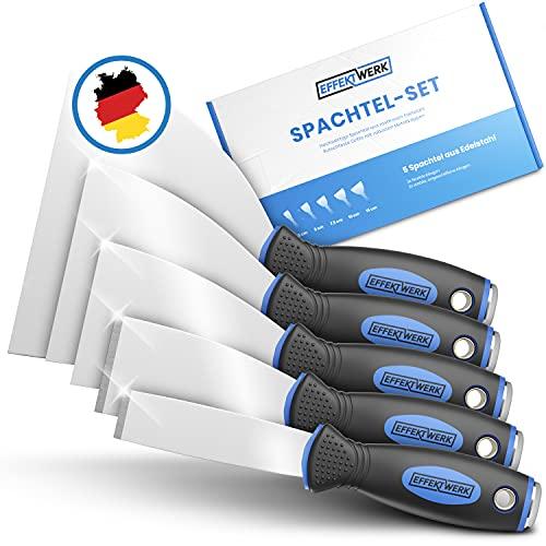 EFFEKTWERK Profi Spachtel Set - 5tlg Spachtel aus rostfreiem Edelstahl - 2x stabil zum Tapeten entfernen mit Anschliff & Metallplatte - 3x flexible Malerspachtel - Maler Werkzeug Spachtelset