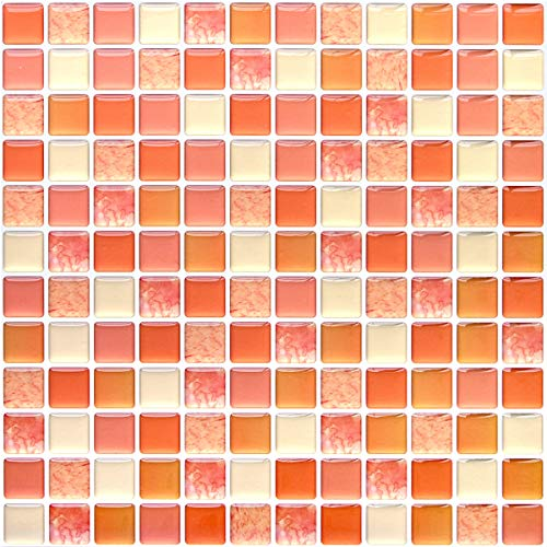 VANCOREモザイクタイルシール【4枚】剥がせる壁紙キッチンリメイクタイルステッカー超簡単リフォーム洗面所防水DIYオレンジ