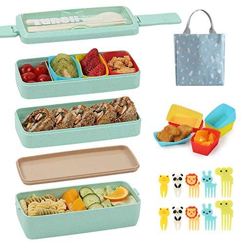 Caja Bento para niños con tazas de silicona para hornear cupcakes y palillos de alimentos para niños, 3 en 1, fiambrera, pajita de...