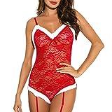 AMhomely - Conjunto de lencería sexy para mujer, lencería de Navidad sexy sujetador de celosía, tanga con liga, pijamas, ropa interior, talla grande, regalo de uingerie, talla Reino Unido