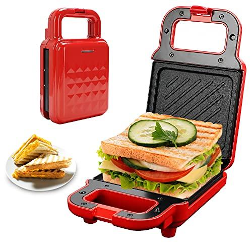 Gohytal Sandwichmaker, Sandwichtoaster für Dreieckige Sandwichtoasts, Doppelseitig Backen Sandwich Grill, Multifunktional Kontaktgrill Antihaftbeschichtete Platten Wärmeisolierter Handgriff, Rot