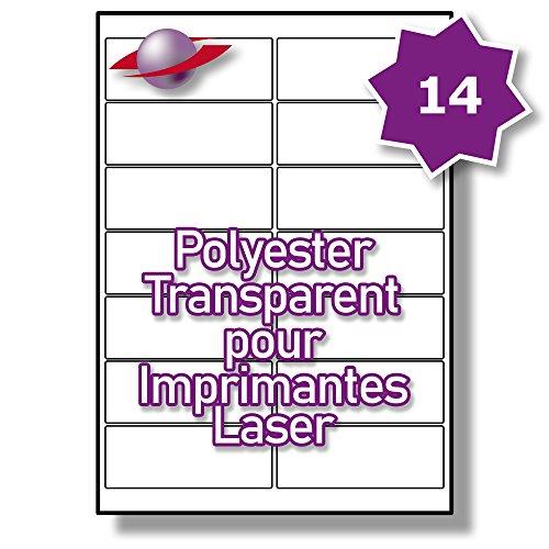 14 Par Feuille, 250 Feuilles, 3500 Étiquettes. Label Planet® Étiquettes en Polyester Transparent A4 pour Imprimantes Laser 99.1 x 38.1mm, LP14/99 GTP.