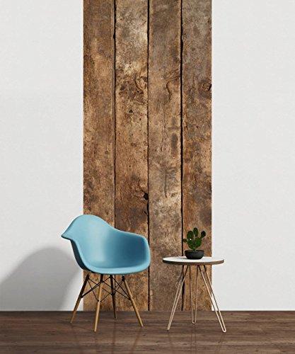 awallo Dekopanel Motiv Holzbretter in den Farben Braun Beige Fototapete in 100x250cm auf Vliestapete Made in Germany einfache und schnelle Verarbeitung