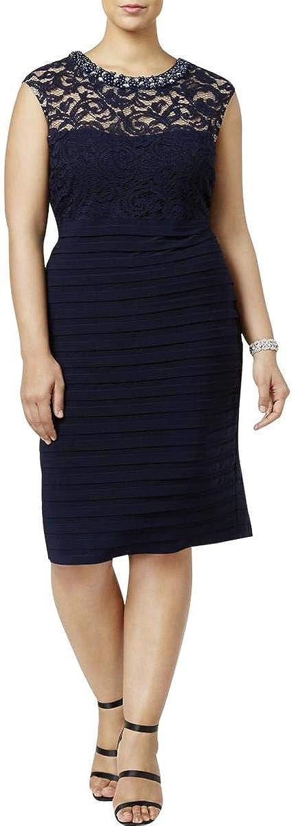 Betsy & Adam Women's Plus Size Banded Lace Sheath Dress
