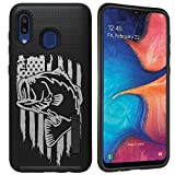 CasesOnDeck Heavy Duty Case Compatible with Samsung Galaxy A20 / Galaxy A30 [Grip Tactical] Dual Layer Grip Design Case with Rubberized Exterior (Fishing USA Bass)