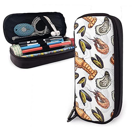 Animales marinos ostra cangrejo de río conchas de camarón estuche de cuero para lápices, gran capacidad, estuche para bolígrafos, estuche para lápices, almacenamiento, maquillaje