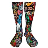 LASWEGA Graffiti Art Hip-Hop Style Texture Pattern Compression Socks Men & Women Casual Funny Cool Crazy Pattern Athletic Sport Colorful Fancy Novelty Graphic Crew Tube Socks