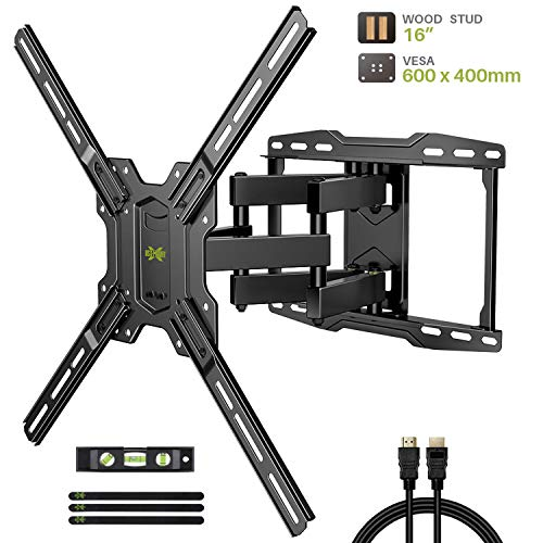 "TV Mount Bracket Max VESA 600x400mm for Most 42-75 inch Flat Screen/LED/4K TVs, USX MOUNT Full Motion TV Wall Mount Dual Swivel Articulating Tilt 6 Arms Up to 16"" Wood Stud, Weight Capacity 100lbs"