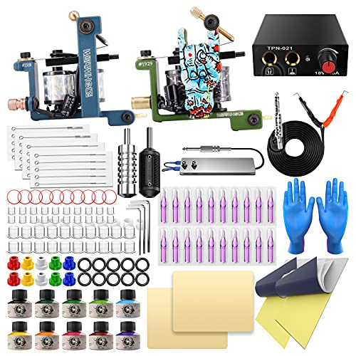 Tattoo Kit for Beginner Complete Tattoo Machine Kit with 2 Tattoo Machines, 10 Tattoo Inks, Tattoo Power Supply, Starter Tattoo Gun Kit Tattoo Beginner Kit TK099