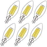 WHLED [キャンドル型] シャンデリア 電球 E12口金LEDキャンドル電球、白熱電球40W相当(4W=40W)、電球色2700K、4W360LM LEDフィラメントバルブ、エジソンランプ、クリアタイプ蝋燭型、キャンデリア用、密閉型器具対応、非調光 PSE[6個入]