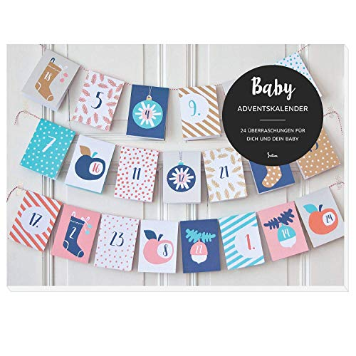 JulicaDesign Baby Adventskalender | 24 Überraschungen für Eltern und Baby + Dekokordel zum Aufhängen | empfohlen ab 8 Monate