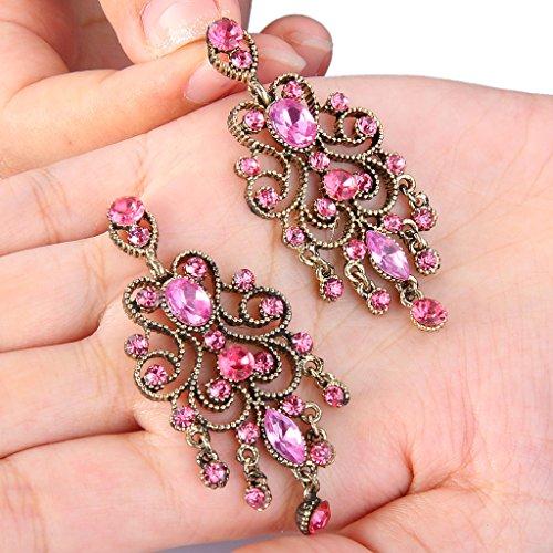 BriLove Women's Vintaged Style Bridal Crystal Drop Hollow Chandelier Filigree Dangle Earrings Antique Gold-tone Pink Tourmaline Color
