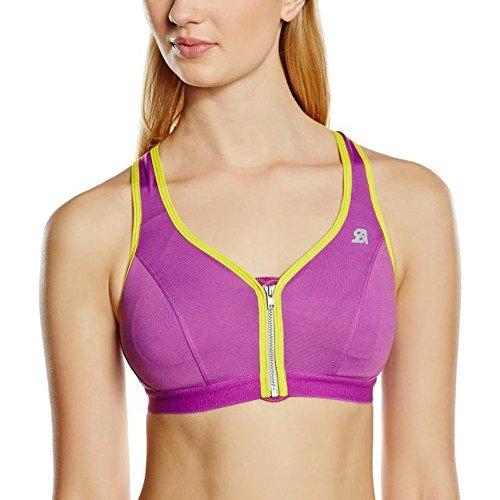 Shock Absorber Damen Active Zipped Plunge Sport-BH, Violett (Violet/Jaune), 32B (Herstellergröße (Taille Fabricant 85B)