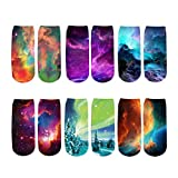 Galaxy Colorful 3D Printed Socks, Funny Socks and Athletic Sports Ankle...