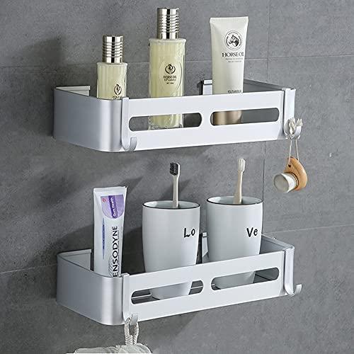Yeegout Estantes de Esquina de baño sin Taladro con Ganchos extraíbles Almacenamiento de Carrito de Ducha Adhesivo de Aluminio (Cuadrado)