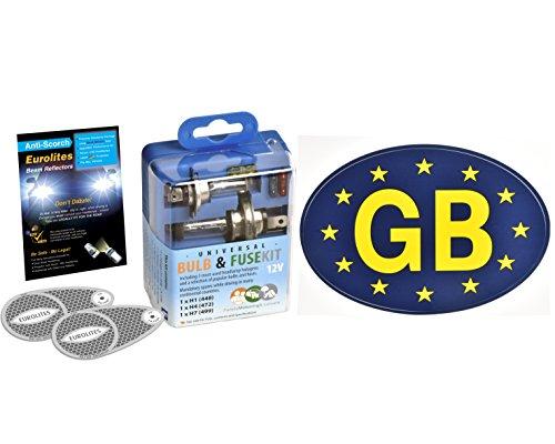 Kit de voyage de voiture Ampoule et fusible de rechange Autocollant GB bleu et Déviateur de faisceau