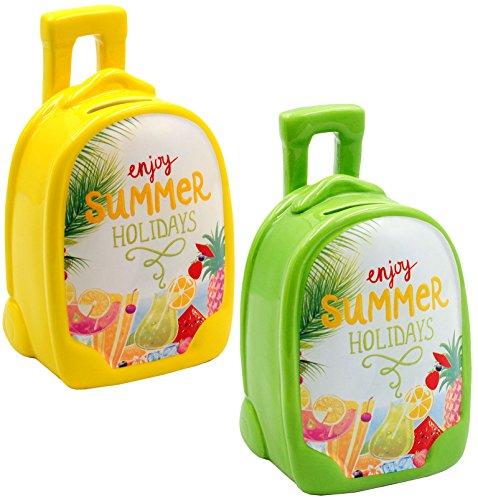 alles-meine.de GmbH 2 Stück _ Spardosen -  Trolley / Urlaubskasse - Enjoy Summer Holidays  - aus Keramik / Porzellan - Geldgeschenk / Urlaubsreise / Urlaubs Kasse - Trolly - st..