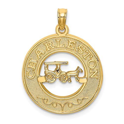 Colgante de oro de 14 quilates con marco redondo con centro de caballo y carrito