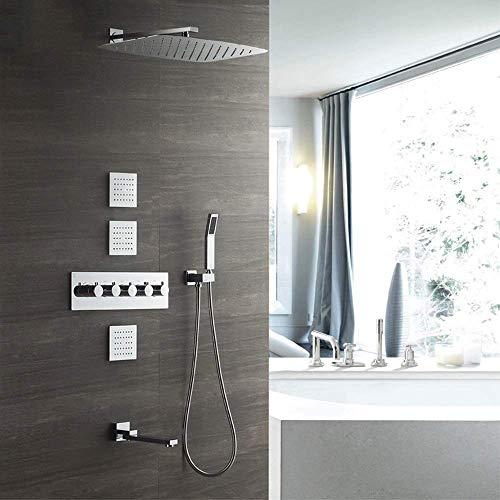 CLJ-LJ Oculta de la ducha termostática 4 Función Dentro de la pared de la cascada superior cuadrada spray de cobre ducha de mano del sistema 3 Lado táctil con el grifo se puede girar Hermosa práctica