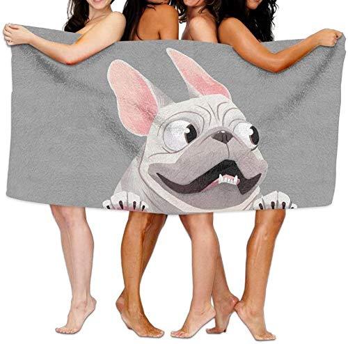 Toalla de baño para Mujer Perro Bulldog francés Toalla de Playa Unisex Piscina Fitness Toalla de Viaje 80 * 130 cm Accesorios para Acampar Manta de Picnic