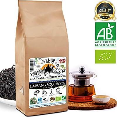 Nabür - Thé noir Bio Lapsang souchong 120 gr | Authentique, Thé fumé au bois, Thé noir fumé Bio