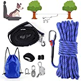 EKXOZV Dog Tie Out Cable, 50ft Overhead Trolley System...