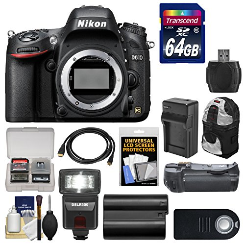 Nikon D610 Digital SLR Camera Body with 64GB Card + Sling Case + Flash + Grip + Battery & Charger + Remote Kit
