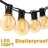 Bomcosy Outdoor String Lights, 100FT G40 LED Globe String Lights with 50+2pcs Shatterproof Bulbs,1 Watt Dimmable 2700K, 50 X E12 Socket, IP45 Waterproof, Patio Lights