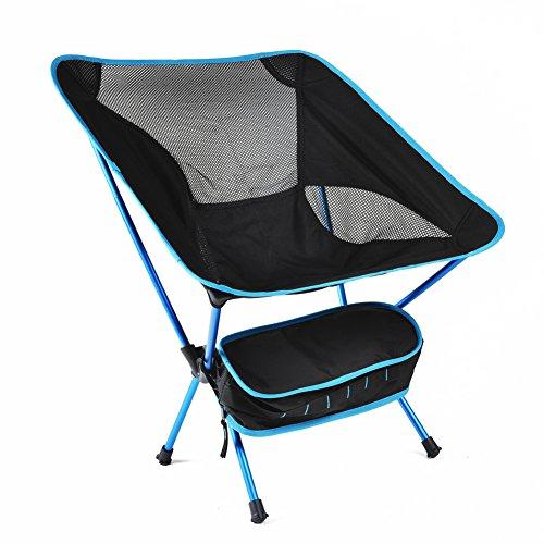 HM&DX Portable Chaises Pliantes exterieures Chaises de Camping Chaise de Plage Pliante Tabouret Heavy Duty Compact avec Sac de Transport Jardin Camping pêche randonnée Picnic -Bleu