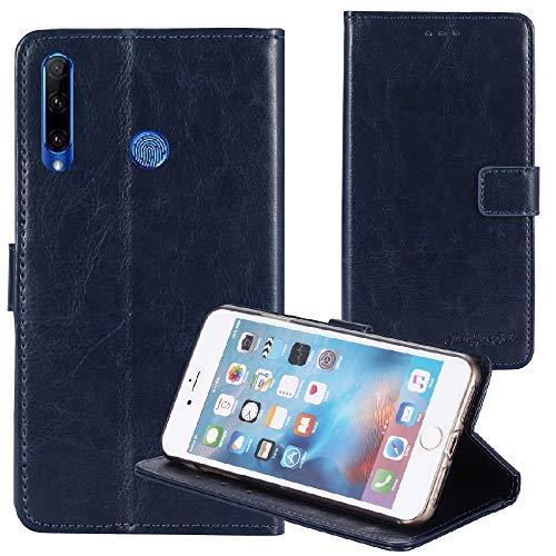 TienJueShi Blu Scuro Premium Retro Stand Portafoglio Caso per umidigi a5 PRO 6.3 inch in Pelle Case Copertina Custodia Protettiva Cover