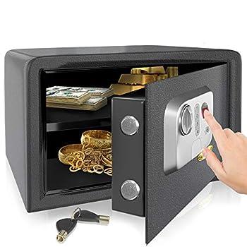 SereneLife Electronic Fingerprint Fire Lock Fireproof Digital Home Combination Box Steel Alloy Drop Safe Includes Keys SLSFE18FP