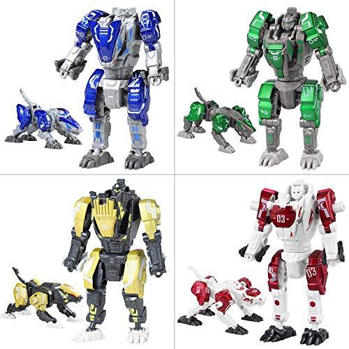 Sanggi 4 in 1 Transformator Roboter, 4 Sätze Montieren Roboter, Morphologische Transformationen Kinder Roboter Spielzeug, 16 Bewegliche Gelenke Verwandlung Legierungen Roboter, 10x5x4.5cm (4 Sätze)