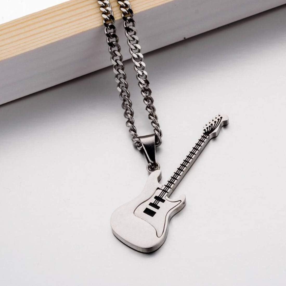 KUANDARMX Regalo de Amante Collar De Acero De Titanio Colgante Cadena De Acero De Titanio Collar De La Música Clásica De La Guitarra Colgante para Hombres Mujeres Embalaje Boutique