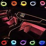 Luci a corda LED flessibili USB per kit per auto 1M/3FT Interno EL Wire Strip Tube Corda Neon Glow Light Line Decorazione Luci al neon (Rosa)