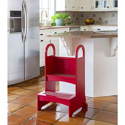 Guidecraft Kitchen Helper High-Rise Step-Up - Red: Baking Step Stool for Children with Safety Handrails - Quality Wood Kids' Furniture