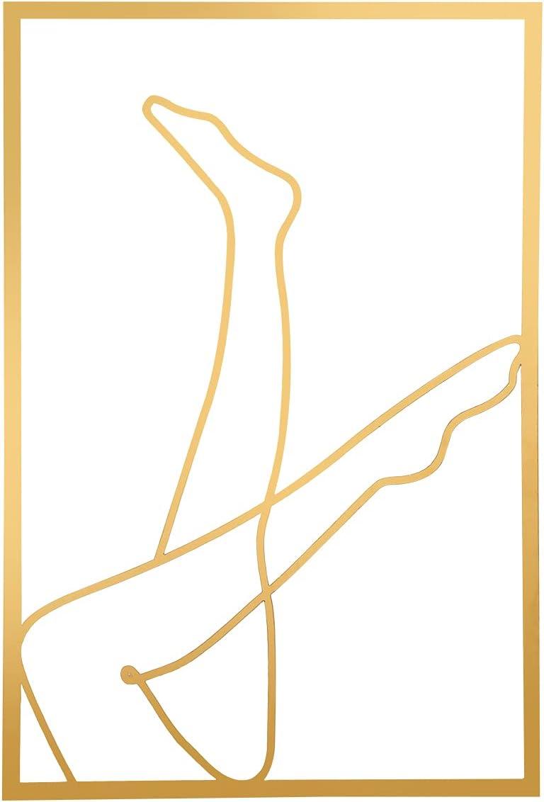 Gold Female Wall Decor Set, Minimalist Line Art Prints, Abstract Woman's Body Shape Wall Decor Art Print Poster, Metal Modern Abstract Wall Drawing Bathroom Acrylic Painting (Leg)