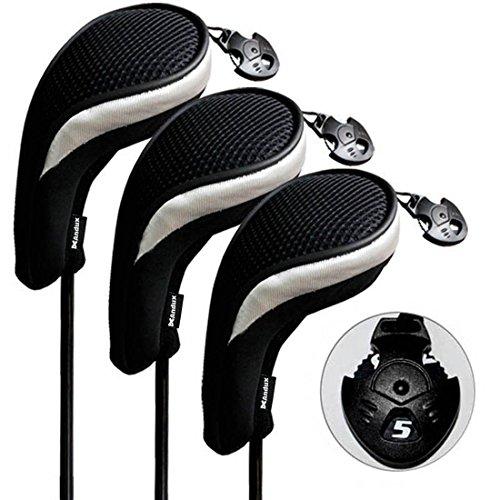 Andux 3 Piezas Funda de Palo de Golf híbridos con Intercambiable No. Etiqueta MT/hy06 (Negro/Plata)