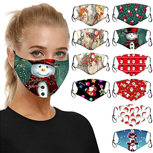 10PC Christmas Print Face_Mask,Breathable Reusable Washable Mouth Protection for Women Men (10PCS/B)