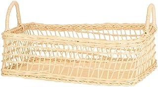 WZHZJ Rattan Picnic Basket White Rattan Woven Basket Hollow Shopping Basket Fruit Bread Snacks Picnic Desktop Storage Basket