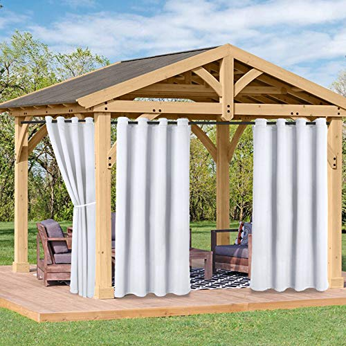FLOWEROOM Indoor/Outdoor Curtains for Patio, Pergola and Cabana, Greyish White, 52 x 120 inch – Sun Light Blocking Waterproof, Grommet Thermal Blackout Curtains for Living Room, Set of 2 Panels