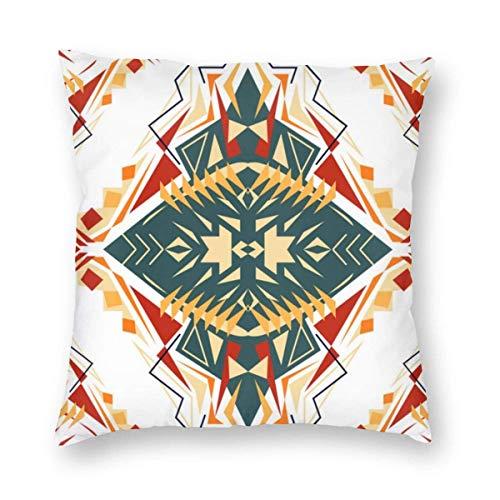 QUEMIN Fundas de Almohada cuadradas Funda de Almohada geométrica étnica Tribal Funda de cojín de sofá para el hogar Cremallera Invisible (18x18 Pulgadas / 45x45cm)
