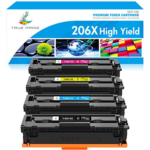 True Image Compatible Toner Cartridge Replacement for HP 206X 206A W2110A W2110X HP Color Laserjet Pro M255dw MFP M283fdw M283cdw M283 M255 Printer Toner (Black Cyan Yellow Magenta, 4-Pack)