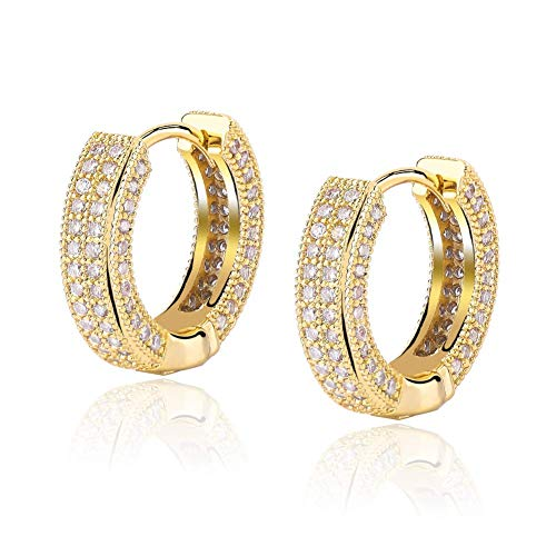 LadayPoa Cubic Zirconia Cartilage Cuff Hoop Earrings for Women 14K Gold Plated Iced Out Hypoallergenic Hoops(Gold)