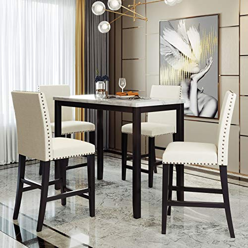 5 Piece Counter Height Dining Set Kitchen Table Furniture Set with 4 Chairs
