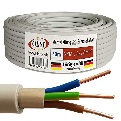 OKSI NYM-J - Cable eléctrico (80 m, 3 x 2,5 mm², cobre, fabricado en Alemania)
