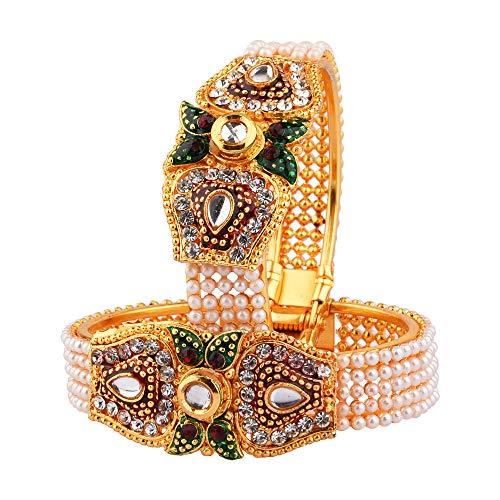 Efulgenz Juego de pulsera tradicional de perlas de imitación indias (2 piezas)