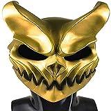 XWYWP Máscara de Halloween Demonio Máscaras Kid of Darkness Demolisher Horrible Masacre Para Prevalecer Mascarillas de Moda para Halloween Props Cosplay Disfraz dorado