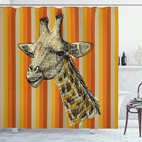 ABAKUHAUS Duschvorhang, Porträt einer Giraffen Hipster Afrikanischen Tier Zoo Safari Tier Themenorientierter Kunst Druck, Wasser & Blickdicht aus Stoff mit 12 Ringen Bakterie Resistent, 175 X 200 cm